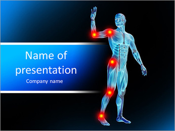 Human body with area of pain PowerPoint Template
