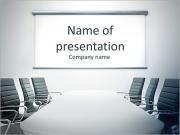 Mesa y sillas de conferencia en la sala de reuniones Plantillas de Presentaciones PowerPoint