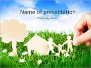 Family paper on grass PowerPoint Template
