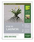 Plants emerging through hard asphalt Poster Templates