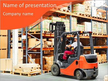 Forklifts in stock PowerPoint Template