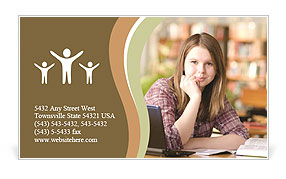 Red-haired girl Business Card Template