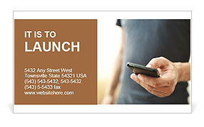 Phone in hand Business Card Templates