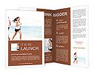 Girls jogging on the beach Brochure Templates