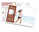 Girls jogging on the beach Postcard Templates