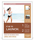 Girls jogging on the beach Poster Template