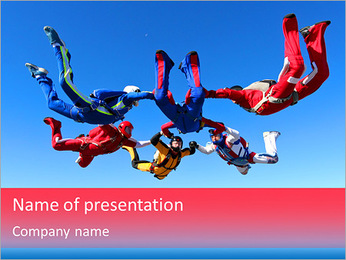 Team parachutists PowerPoint Template