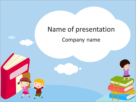 drawn children and books powerpoint template & backgrounds id, Presentation templates