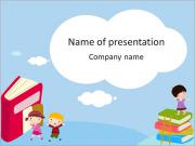 Drawn children and books PowerPoint Templates
