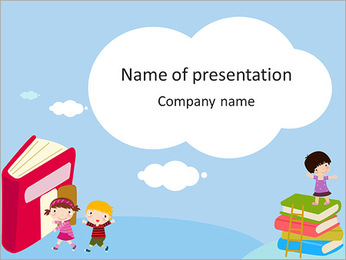 Drawn children and books PowerPoint Template