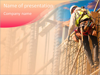 高さで建設作業員 PowerPointプレゼンテーションのテンプレート