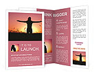 Silhouette in a field at sunset Brochure Templates