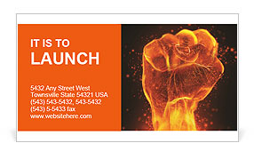 Fiery fist Business Card Template