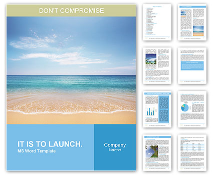Sea summer word template design id 0000008408 for Free microsoft word templates