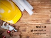 Hard hat and drawings PowerPoint Template
