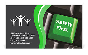 Safety First green Business Card Template
