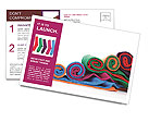 Colorful fabric Postcard Templates