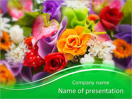 lots of flowers powerpoint template & backgrounds id 0000008449, Modern powerpoint