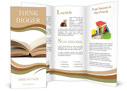 open book with yellow pages brochure template