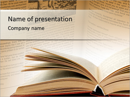 Open Book With Yellow Pages Powerpoint Template Backgrounds
