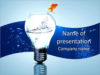 Goldfish in light bulb dabble PowerPoint Template