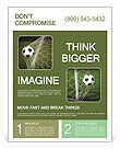 Soccer ball in the net, the goal Flyer Template