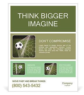 Soccer Ball In The Net Goal Poster Template