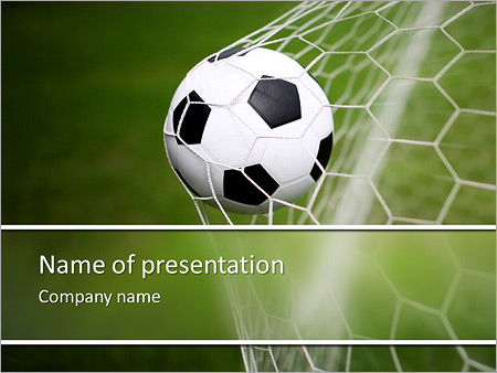 soccer ball in the net, the goal powerpoint template & backgrounds, Powerpoint templates