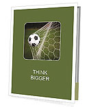 Soccer ball in the net, the goal Presentation Folder