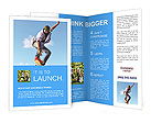 Skateboarder doing stunts on a background of blue sky Brochure Templates