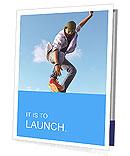 Skateboarder doing stunts on a background of blue sky Presentation Folder