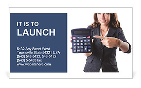 Girl in a helmet holding a calculator Business Card Template