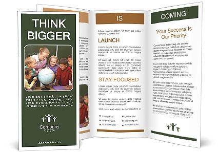 School Children Gathered Around Their Teacher Brochure Template - Teacher brochure template