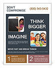 Little black girl shows a finger to a presentation Flyer Template