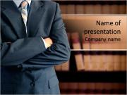 The body of businessman with folded arms PowerPoint Templates