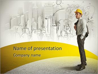 O arquiteto no fundo de esboços Modelos de apresentações PowerPoint