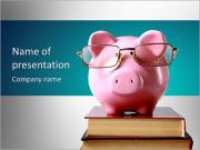 Toy pig with glasses PowerPoint Templates