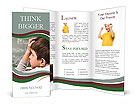 Little boy thinking at school Brochure Templates