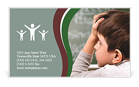Little boy thinking at school Business Card Template