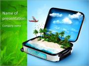 スーツケースでのリラックスと冒険の世界 PowerPointプレゼンテーションのテンプレート