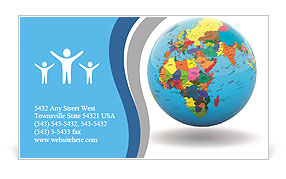 Political map of the world on the globe Business Card Templates