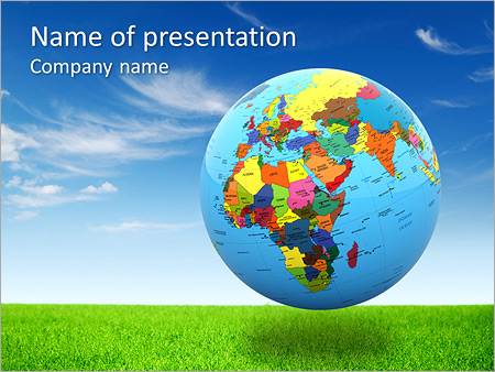 Political Map Of The World On The Globe Powerpoint Template