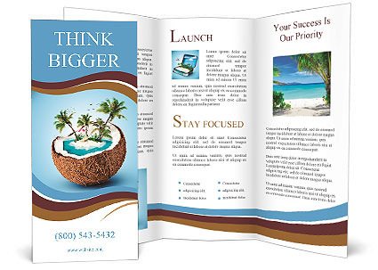 imaginary tropical island in the coconut brochure template. Black Bedroom Furniture Sets. Home Design Ideas