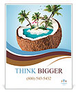 Imaginary tropical island in the coconut Poster Template