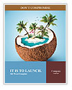 Imaginary tropical island in the coconut Word Templates