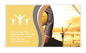 Yellow helmet as a symbol of safety in buildings Business Card Templates