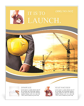 yellow helmet as a symbol of safety in buildings flyer template