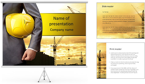Yellow helmet as a symbol of safety in buildings PowerPoint – Safety Powerpoint Template