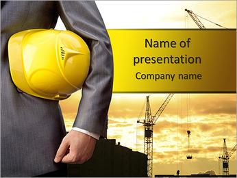 Capacete amarelo como um símbolo de segurança em prédios Modelos de apresentações PowerPoint