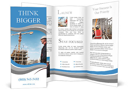 Building Inspector Monitors The Construction Of The Building - Construction brochure templates